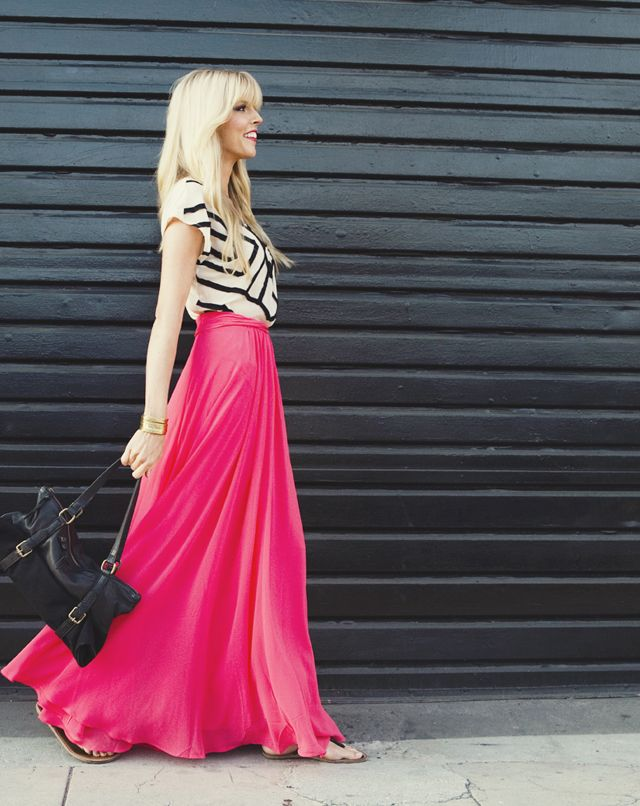 I love this- print top with bright maxi skirt