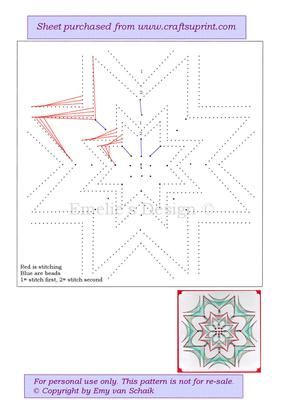 ED076 Christmas star on Craftsuprint designed by Emy van Schaik - Stitching with beads - Now available for download!