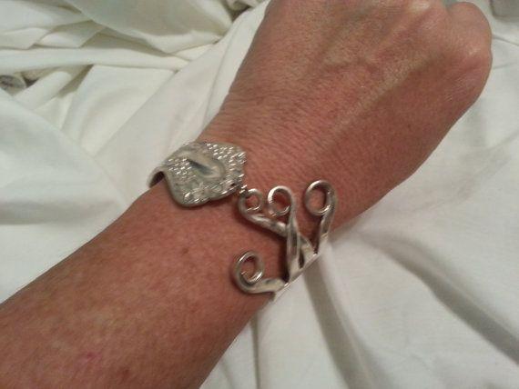Gabel-Armband aus Jahrgang Silber versilbert Gabel, Muster ist Jahrgang von 1904. Klaue Karabinerverschluss, sind alle Ergebnisse auch
