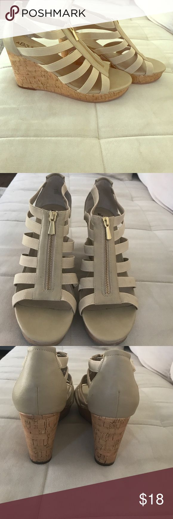 Beige wedges Gently used beige wedges Abound Shoes Wedges