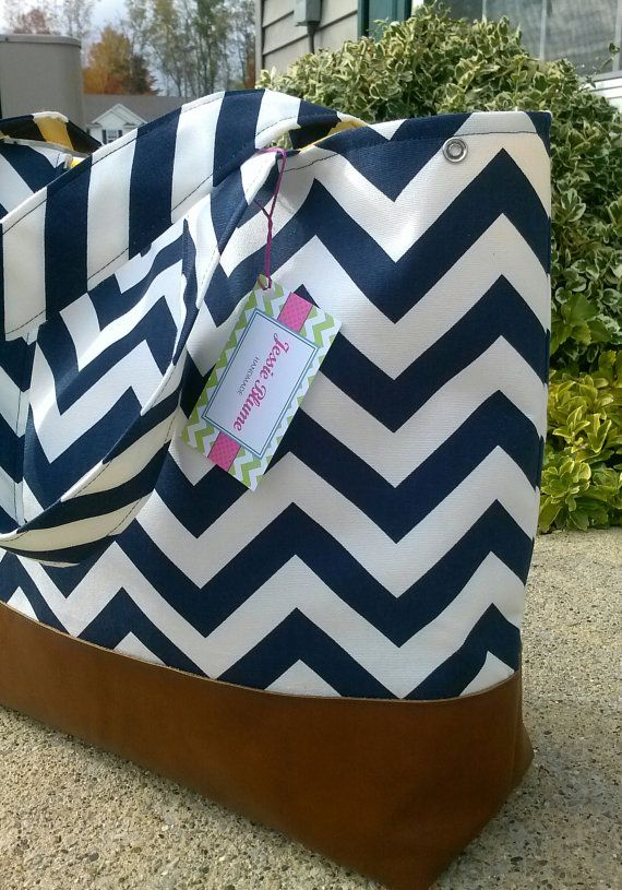 navy chevron diaper bag Large diaper bag leather by JessieBlume