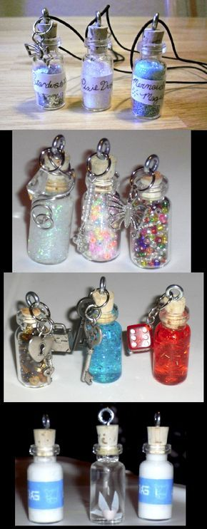 Tiny bottle necklace charms by ~Mari-Kyomo on deviantART