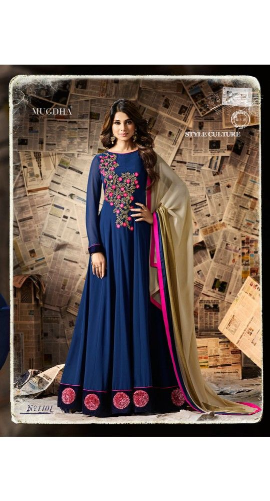 Designer Georgette Salwar Suit With Gotta Flower N Velvet Border For Party, Reception , Wedding, Gift, Anniversary