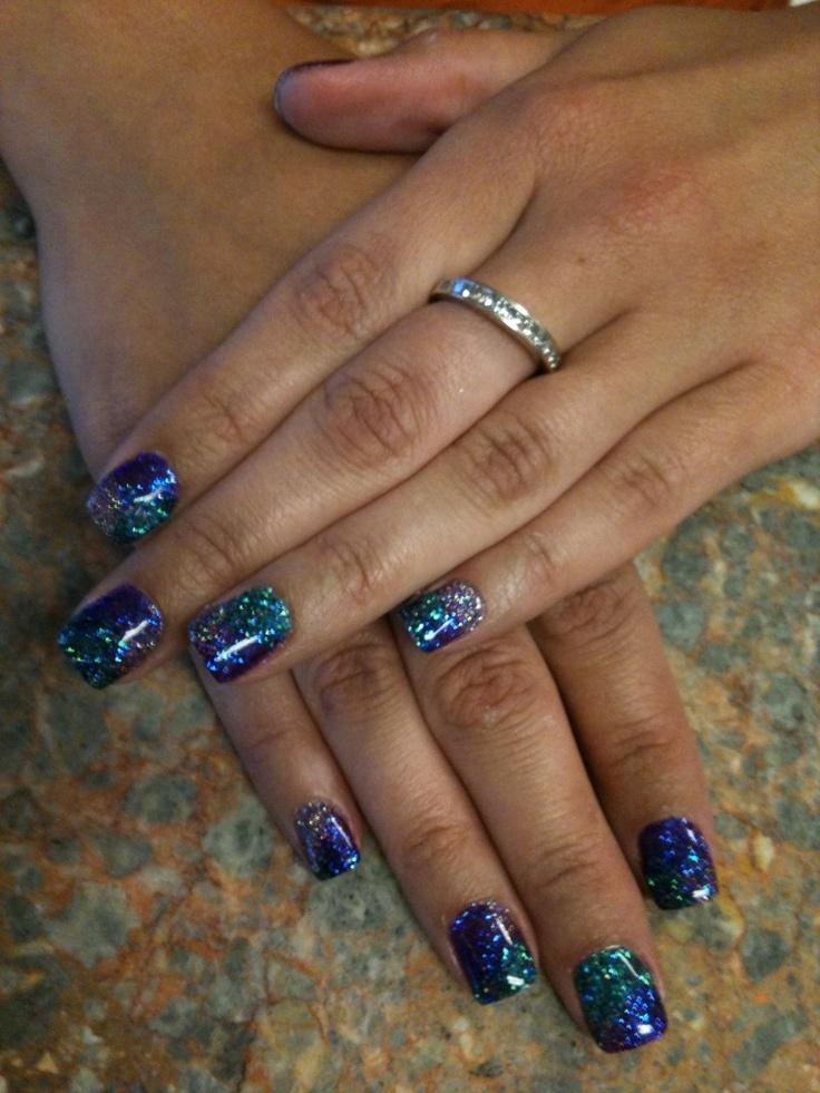 Peacock Tie Dye Rock Star Nails