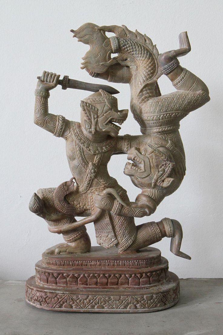 Hanuman Fighting Majchanu 40 cm - Angkor Art For Sale Online