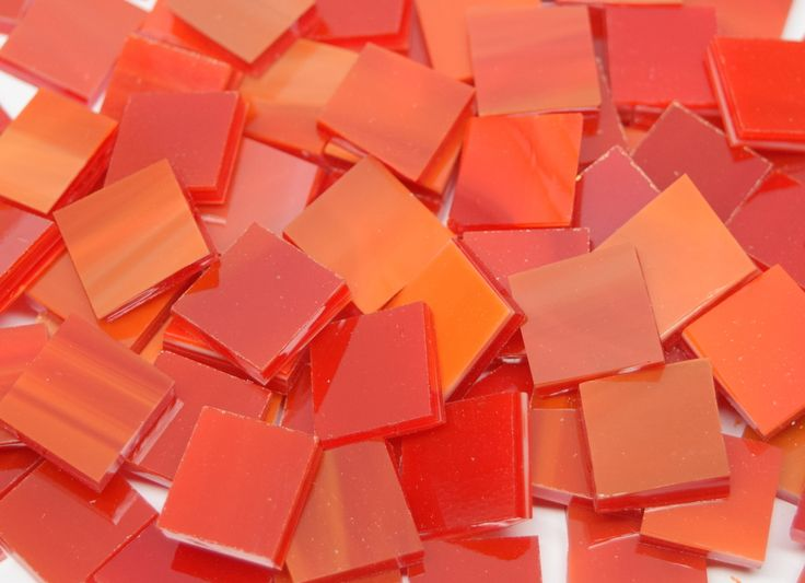 Red & White Wispy Stained Glass Mosaic Tiles - Mosaic Tile Mania