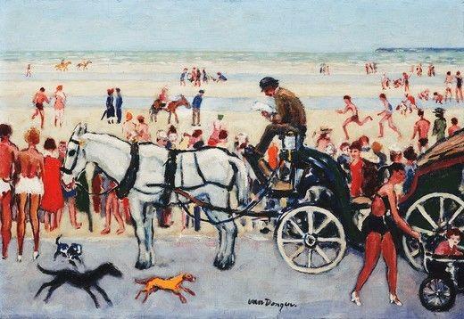 Beach Scene - Deauville; Scene de Plage - Deauville. Kees van Dongen (1877-1968). Oil on canvas. Painted circa 1925. 38 x 55.2cm. : Stock Photo