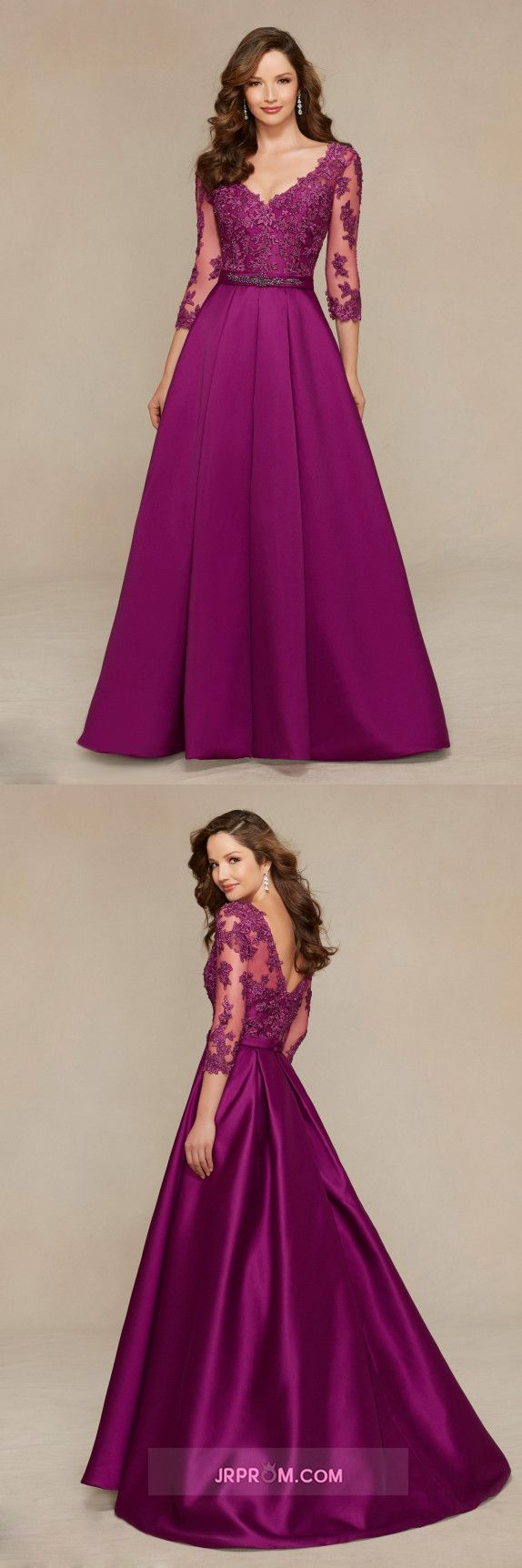 V Neck A Line Mother Of The Bride Dresses Satin With Applique And Beads 3/4 Length Sleeves Item Code:#JRP1YGSSMA