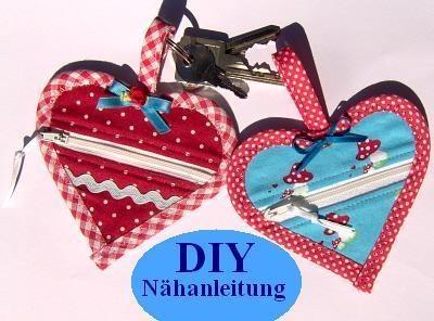 Nähe sie dir selbst!    Süße Herztäschchen, Minibörse für den Schlüsselbund, mit Reißverschluss♥    Für Kleingeld, Einkaufswagenchip, Tampons oder was