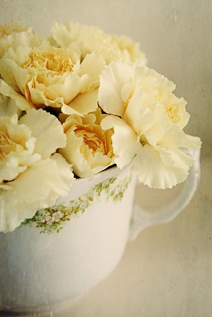 flowers in teacups for my bedroom mantle