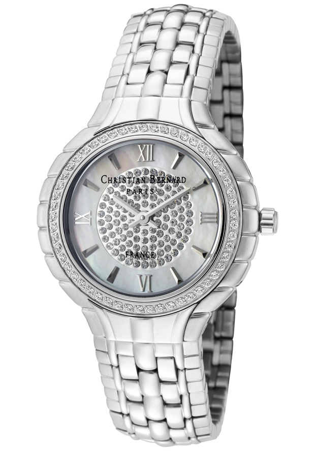 Price:$183.59 #watches Christian Bernard NA368ZWWI, Resplendent, sensuous and detailed, with a slightly curved glass and ribbon esges along the casee, expresses its very distinguished character