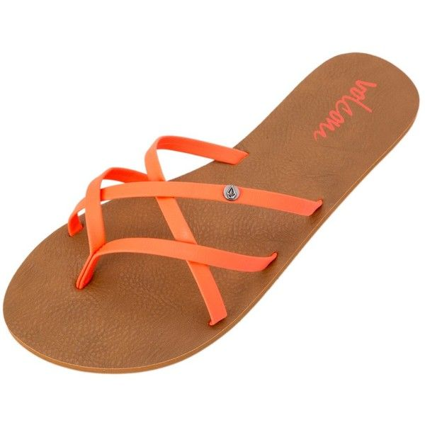 Volcom Womens New School Sandal ($25) ❤ liked on Polyvore featuring shoes, sandals, neon orange, volcom, orange sandals, slipon shoes, neon orange shoes and neon shoes