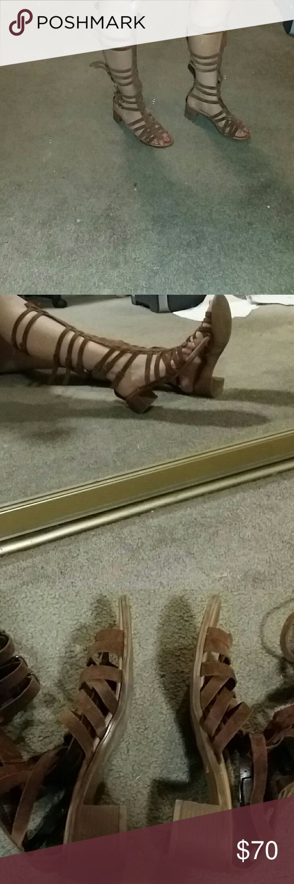 Steven Madden Caged Sandals Never worn other than for these pictures. Brown suede. Perfect with a dress or romper. Steve Madden Shoes Sandals