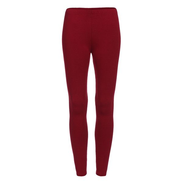 Elastic Waist Thicken Maroon Leggings ❤ liked on Polyvore featuring pants, leggings, red pants, stretch waistband pants, red trousers, red leggings and maroon pants