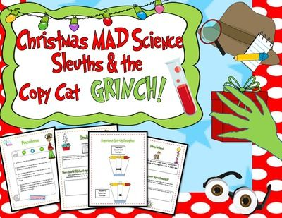 """Christmas MAD Science Sleuths & the Copy Cat Grinch Activity! from EngagingLessons on TeachersNotebook.com (24 pages)  - Get your Student Detectives MAD about Science with this super sleuthy FUN Science Experiment that has them on the case of the """"Copy Cat Grinch!""""  They will be exploring all about chromatography in a Very EASY to understand manner all while they"""