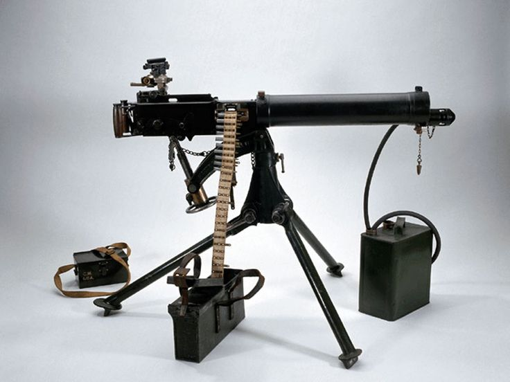 """Vickers Machine Gun .303"""". designed by Hiram Maxim who came to England in 1908 and set up the Vickers sons and Maxim. Without doubt, the finest medium machine gun ever made by anyone. Sustained fire that does exactly that. Water cooled, feeding belted .303"""" ammunition from canvas belts holding 250 rounds, this gun had a rate of fire of 10,000 rounds per hour, The last Vickers was withdrawn from service in 1968"""