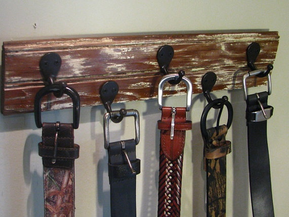 Distressed Hook Board for organizing belts, scarves, jewelry, etc.