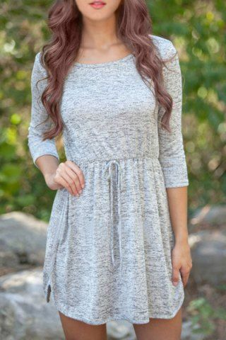 Casual Scoop Neck 3/4 Sleeve Elastic Waist Solid Color Women's Dress