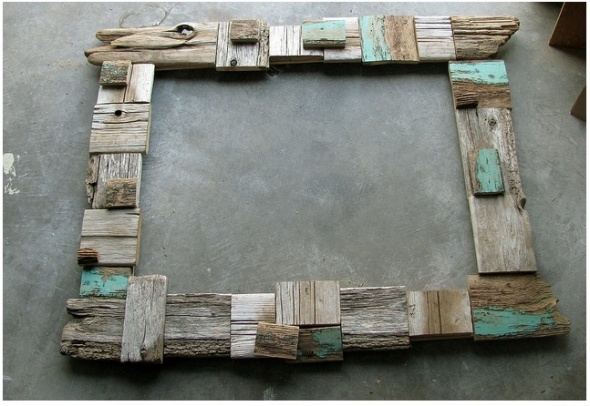 driftwood frame with pops of turquoise worn pieces added in to create added charm.