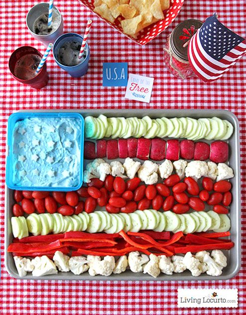 Fun 4th of July Party Idea.  American Flag Vegetable Tray! LivingLocurto.com