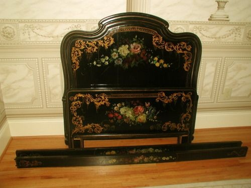 French Bed 19th Century Custom Made Hand Painted