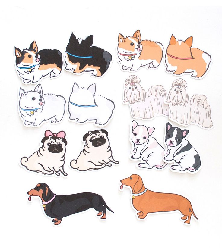 Cute Dogs Die Cut Stickers | This set includes 14 small stickers Matte finish…