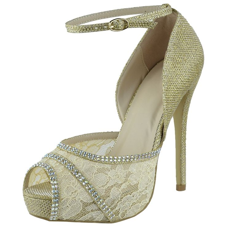 Womenu0027s Dress Sandals Mesh Lace Peep Toe High Heel Dress Shoes Gold Wedding  Shoes Bridal