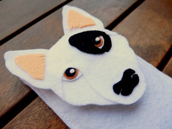 iPhone Case Bull Terrier - Dog Felt Phone Cover - Cell Phone Sleeve - Handmade felt case gray