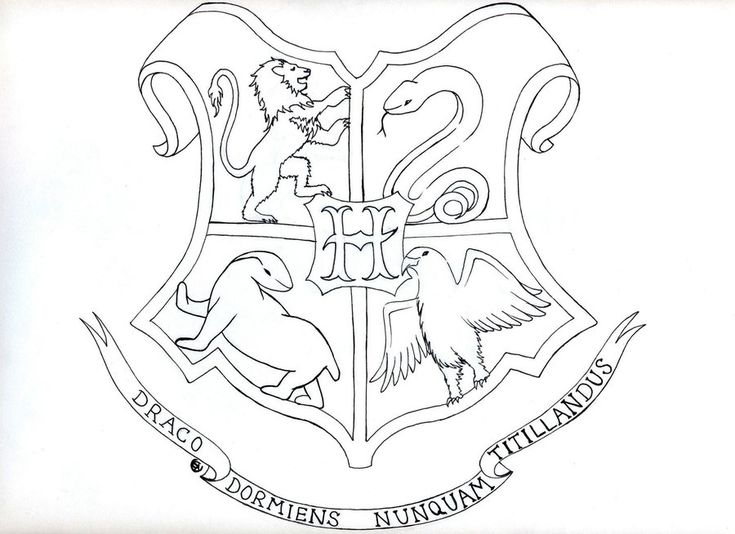 gryffindor crest coloring page - hogwarts crest by rose ann mary k on deviantart line