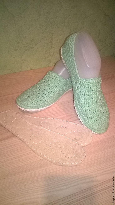 Купить Слипоны хлопковые - морская волна, обувь ручной работы, вязание на заказ, вязаная обувь