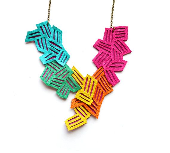 Neon Geometric Necklace Leather Color Block by BooandBooFactory