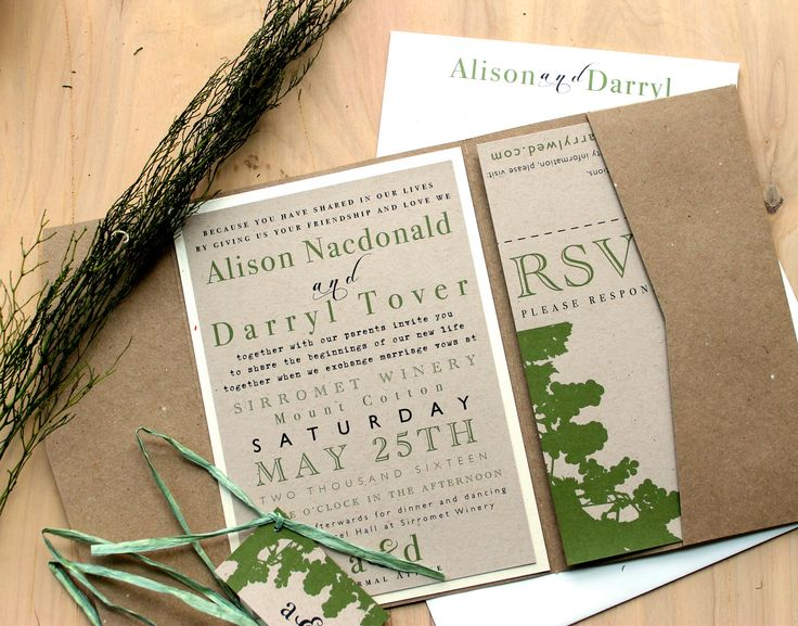Love it - Rustic Chic Winery - Recycled Pocket Fold Wedding Invitations, Winery Wedding, Green - Purchase for a Sample. $7.25, via Etsy.