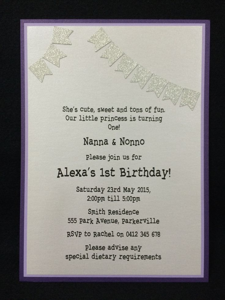 Invitation - Kids Birthday - Purple Glitter Bunting - Alexa