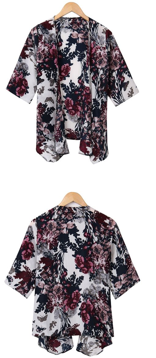 Fashion Vintage Women Floral Loose Half Bat Sleeve Cardigan SIZE S TO 6XL FREE SHIPPING only 17.99 usd