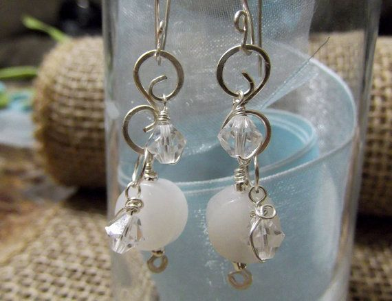 White onyx and crystal wire wrapped dangle by LifeStoneJewelry, $12.75
