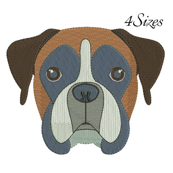 Boxer embroidery machine design animal digital instant download pattern hoop file t-shirt fill stitch dog puppy designs by SvgEmbroideryDesign on Etsy