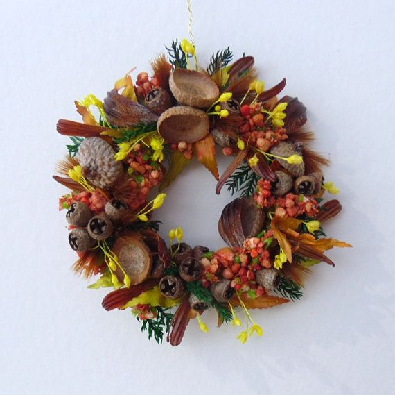 Miniature Wreath with Fall's Seed Pods Acorn Caps and by 4hala