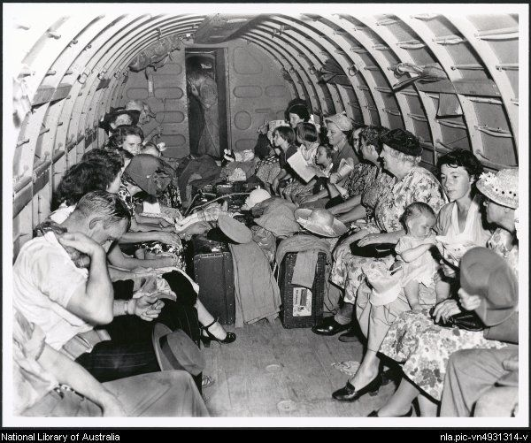 Stranded travelers air lifted by RAAF shuttle service, Casino, New South Wales, February 1954