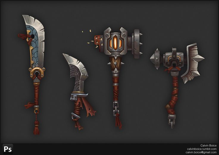I created these Mists of Pandaria-inspired weapons as an exercise in MMO weapon design.  Painted in photoshop.