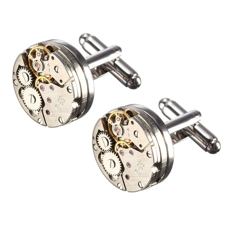 Men Male Silver Mechanical Watch Pattern Bare Cufflinks Wedding Gift Suit Shirt. Features:  1. Unique design make you feel comfortable as well as stand from the crowd and add you style. 2. A durable & elegant cufflink 3. A perfect complement to any occasion 4.Make great gifts for any reason such as Wedding party gifts,  Fathers day,  Christmas,  Graduation,  Boss's day,  Groom,  Usher,  Father of the bride,  etc. 5.Traditional and good workmanship make the cufflinks as a wonderful decoration…