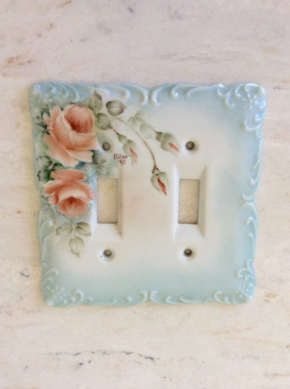 Vintage Porcelain Handpainted Rose, Double Lightswitch Cover, Switch plate, Decorative, Shabby Chic, French Country, Baby Nursery