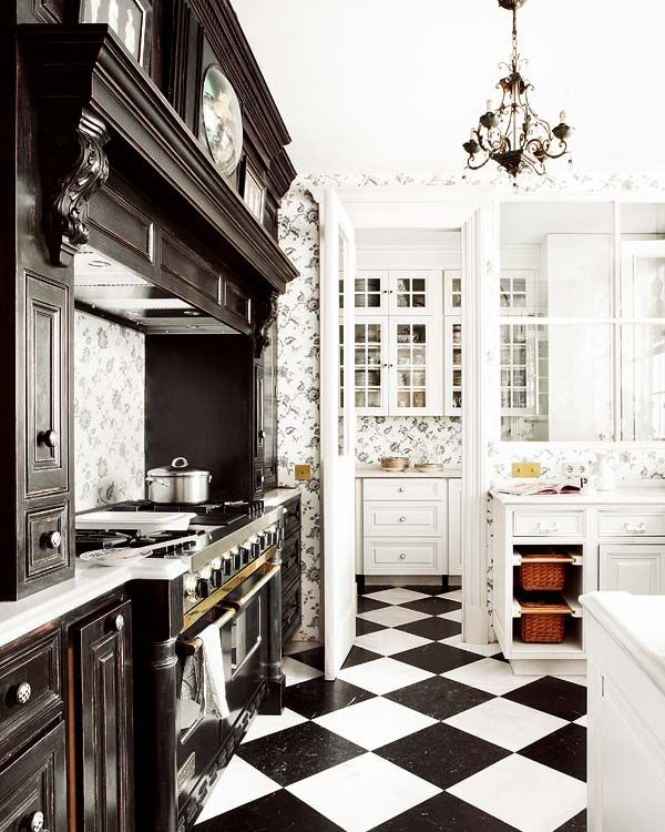 Black And White Kitchen: Darker Cabinets & Plate Rail On Stove Wall, Then Lighter