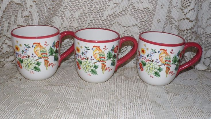 PFALTZGRAFF COFFEE CUPS PARADISE SONG 2003 FLOWER PARROT DESIGN DISCOUTINUED 3PC #Pfaltzgraff #FloralPARROTBIRDS