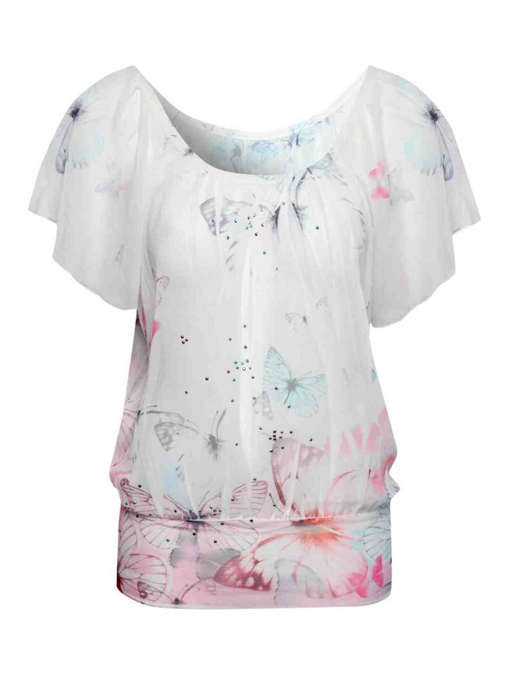 Butterfly Print Embellished Top | Clothing | Jane Norman