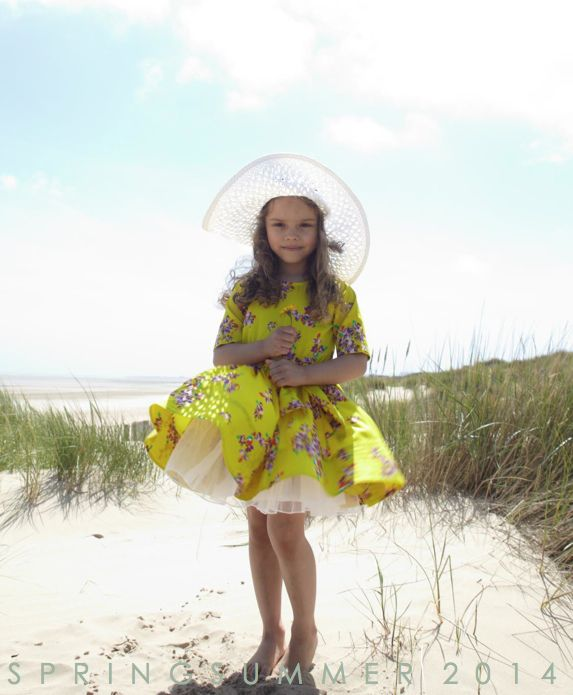 Neon yellow floral girls dress for high summer kids fashion at How to Kiss a Frog