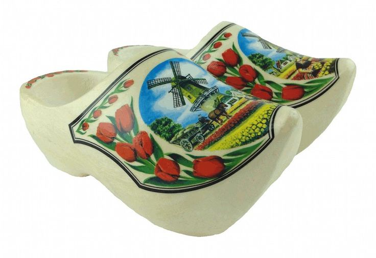 """Wooden Shoe Clogs Dutch Windmill and Tulips Design-4.25"""""""