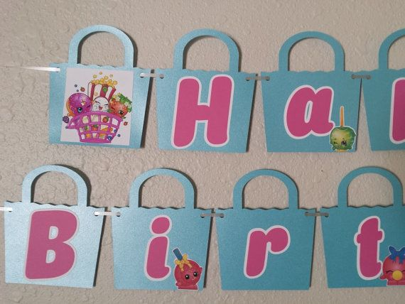 Shopkins BIRTHDAY Banner, Shopkin, Shopkins Banner, Shopkins Party, Shopkins Decor, Shopkins Sign, Shopkins Supplies, Party Supplies