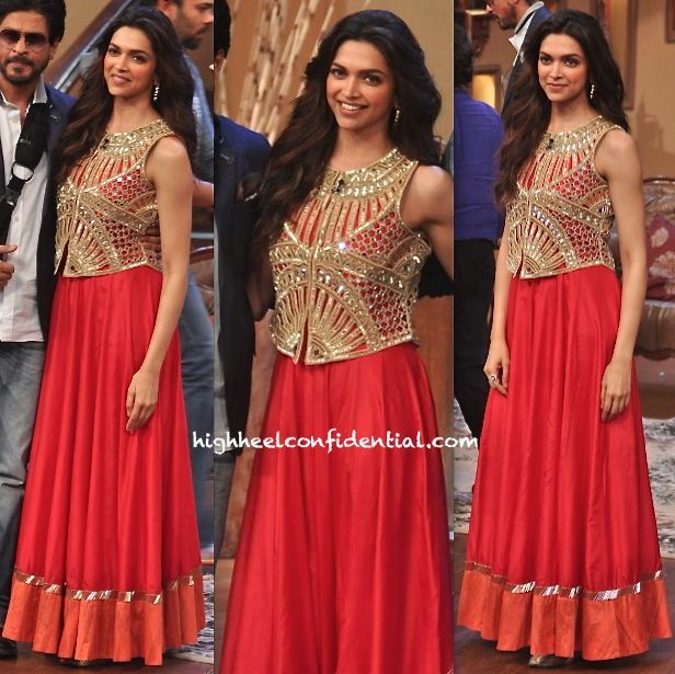 Deepika Padukone in Arpita Mehta anarkali with mirror work vest