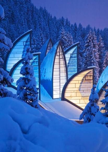Best known for designing the San Francisco Museum of Modern Art, Mario Botta also designed the Tschuggen Grand Hotel in Arosa, in his native Switzerland. The building is meant to blend into its surroundings