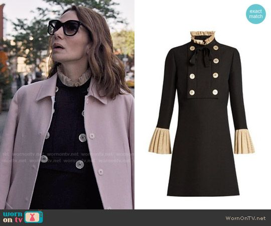 Sam's buttoned dress with ruffle trim on Friends from College.  Outfit Details: https://wornontv.net/75378/ #FriendsfromCollege